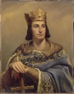 """(El francés). El rey Felipe II """"Augusto"""" de Francia. Atención a la pose."""