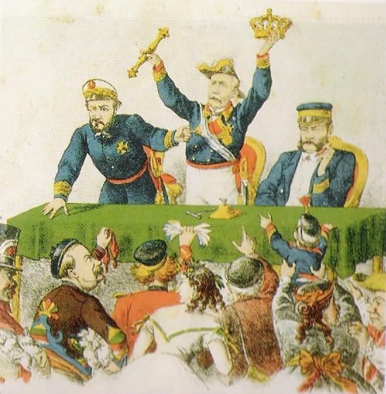 Primo, Serrano y Topete subastan la corona de España (1869).