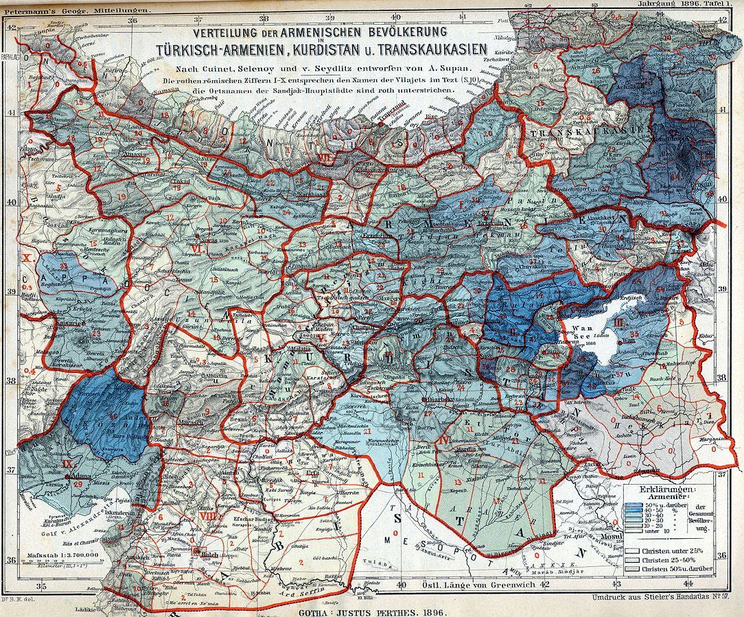 Mapa con población armenia en 1896, en azul oscuro más del 50% | Wikimedia Commons
