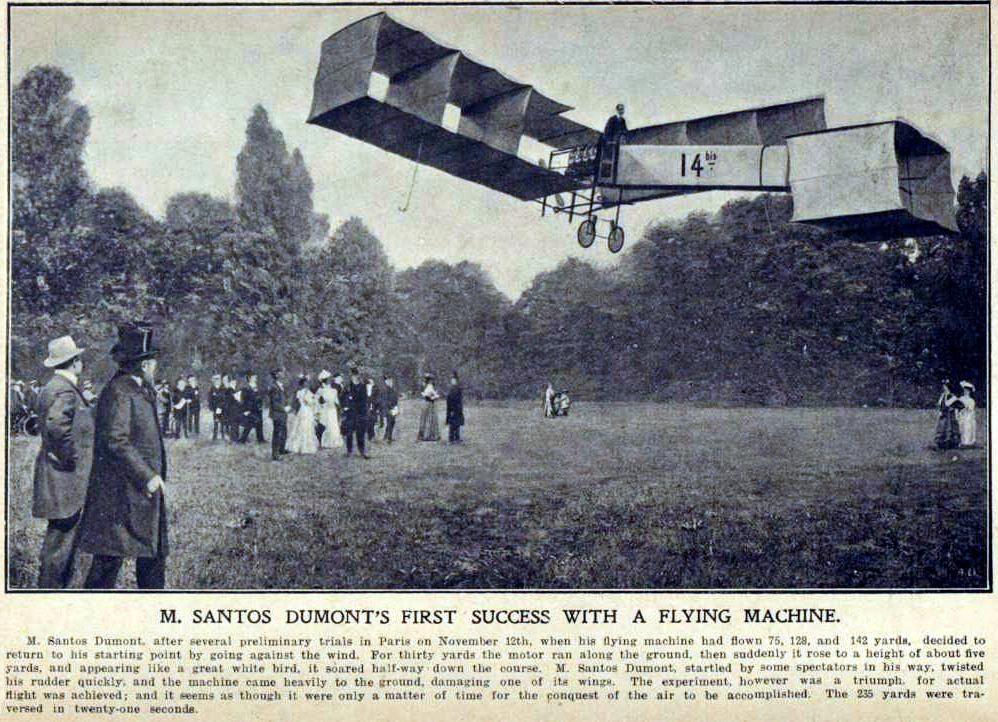 El vuelo de Alberto Santos Dumont, en la prensa | Fuente