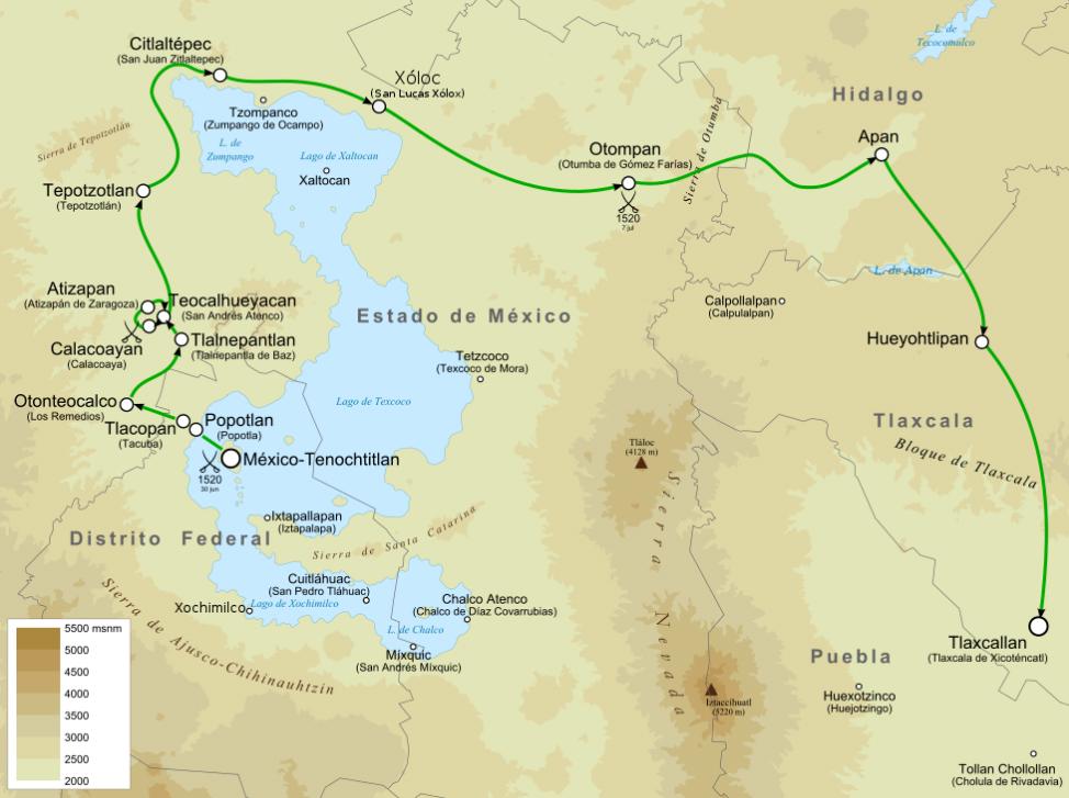 Ruta huida Cortés
